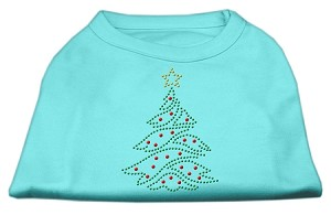 Christmas Tree Rhinestone Shirt Aqua M (12)
